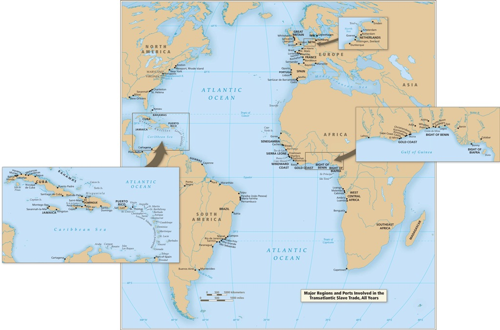 Introductory maps map 5 major regions and ports involved in the trans atlantic slave trade all years gumiabroncs Choice Image