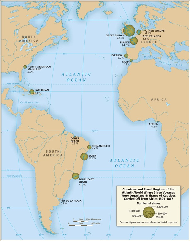 Introductory maps map 6 countries and regions in the atlantic world where slave voyages were organized by share of captives carried off from africa gumiabroncs Gallery