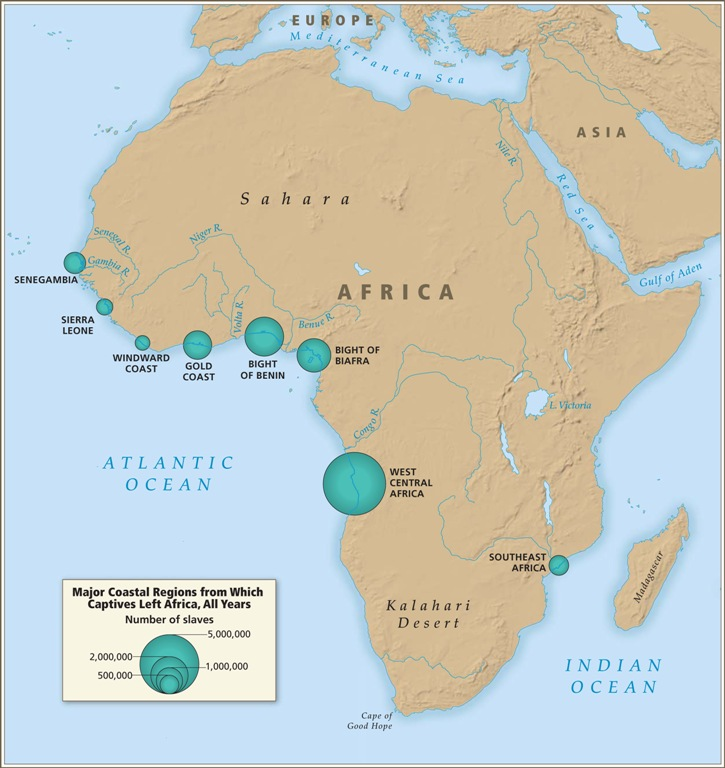 Introductory maps map 7 major coastal regions from which captives left africa all years gumiabroncs Image collections