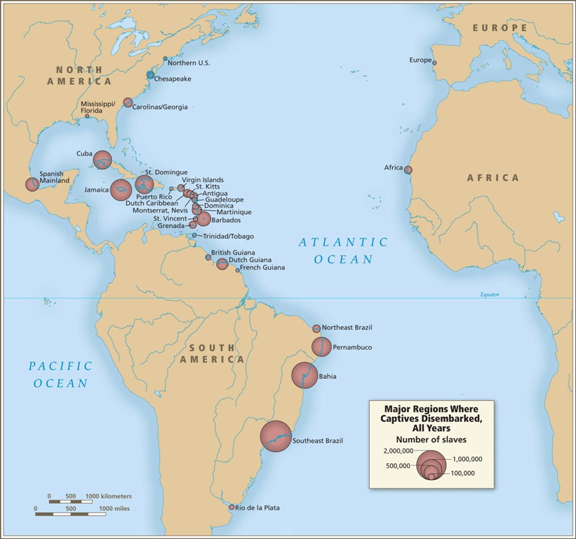 Introductory maps map 8 major regions where captives disembarked all years the caribbean and sciox Image collections